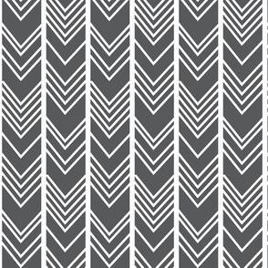 Charcoal Grey Chevron - grey herringbone