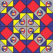 9x9 quilt square Grateful Dead pattern 6 design 2 MIRROR