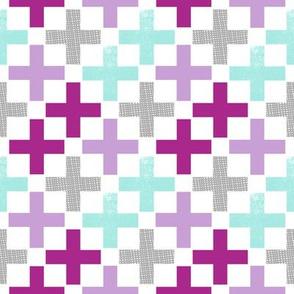 plus purple mint grey purples girls plus sign purple girls nursery swiss cross
