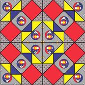 9x9 quilt square Grateful Dead pattern 7 design 2 MIRROR