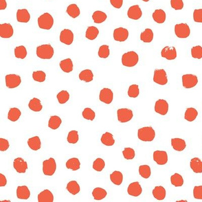 dots painted dots coral baby orange nursery girls painterly abstract dots