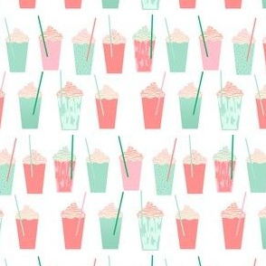 iced coffees pink and green mint cute girls summer tropical lattes girly fresh food latte