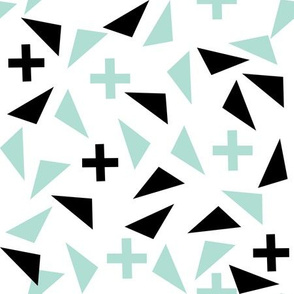 plus and tri scandi kids black and mint triangles plus swiss cross edgy kids trendy kids room fabric design