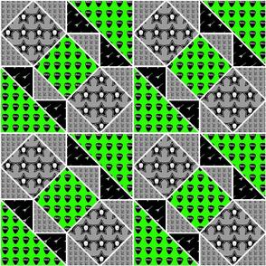 9x9 quilt square Skulls pattern 2 design 1 BASIC