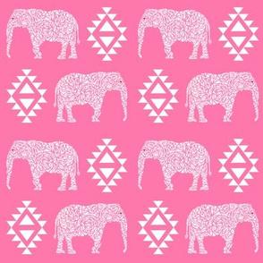 elephant nursery pink aztec geo geometric sweet baby girl