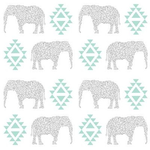 elephant grey mint kids nursery baby aztec geo geometric