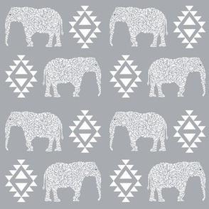elephant grey aztec geo geometric  kids nursery baby