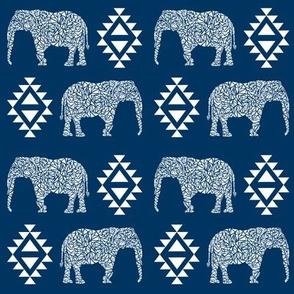 elephant nursery navy blue aztec geo geometric sweet baby girl