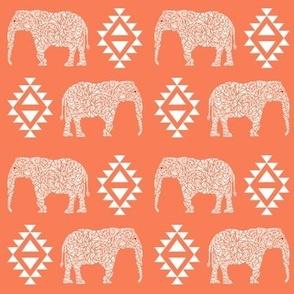 elephant nursery orange aztec geo geometric sweet baby girl