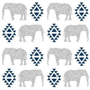 elephant nursery navy blue and grey aztec geo geometric sweet baby girl