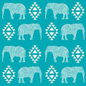 elephant nursery turquoise aqua aztec geo geometric sweet baby girl