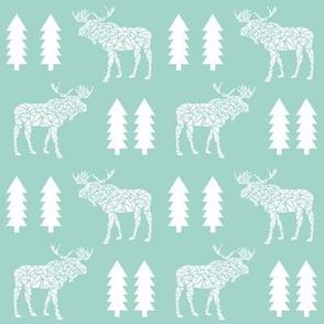 geometric moose mint kids baby nursery trees silhouette geo mooses camper boys kids