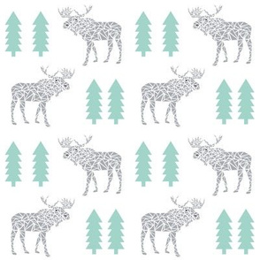 moose grey and mint trees nursery baby moose geo geometric animal kids baby