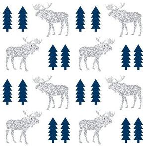 moose navy and grey animals geo geometric trees tree forest canada baby nursery