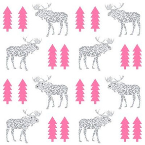 moose pink and grey kids boys geo geometric trees forest moose pink