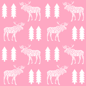 moose pink girls mooses tree geo geometric kids baby girls