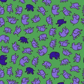 Elephants - small - Green, lilac and blue