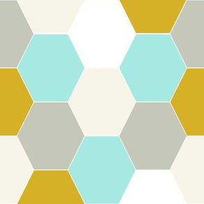 hexagon cheater quilt mustard mint grey khaki kids baby sweet minky blanket baby fabric