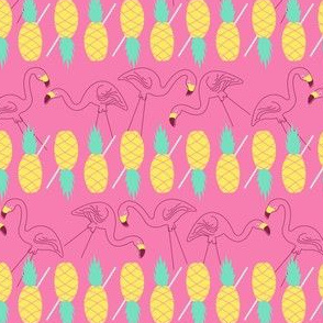Flamingos and Pineapples-pink