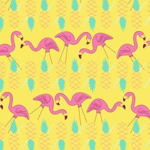 Flamingos and Pineapples-Yellow