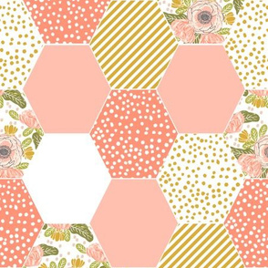 hexagon cheater quilt blush mustard yellow flowers florals cute flowers
