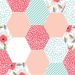 hexagon cheater quilt cute girls poppies flowers spring coral blush watercolor flowers stripes mint cute girls baby blanket