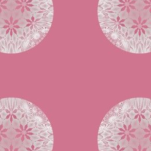 Flowers in Snow Warm Pink Dot
