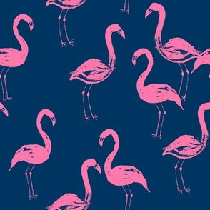 flamingo pink and blue navy blue girls preppy summer prep sweet painted watercolor flamingos