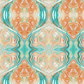 Marbleized Oil in Turquoise Blue and Peach Subdued Version