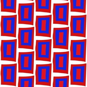 Wonky Quilt Red Blue