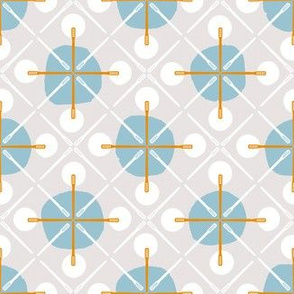 Crosses & Dots (grey, blue + orange)
