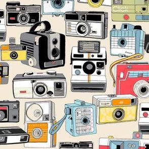 Make It Snappy! (Cream) || vintage camera illustrations analog photography film photo photographer