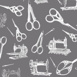 Vintage Sewing Supplies on Grey - Large