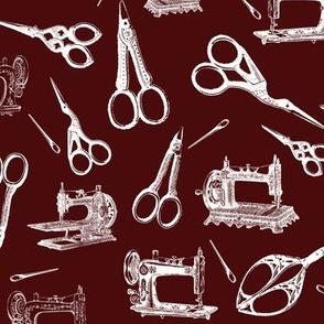 Vintage Sewing Supplies on Burgundy - Large