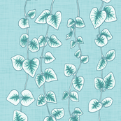 String of Hearts, Pastel Blue Green Linen