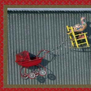 Painted Goose & the Red Baby Buggy