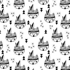 Cool geometric scandinavian style indian summer animals fox black and white
