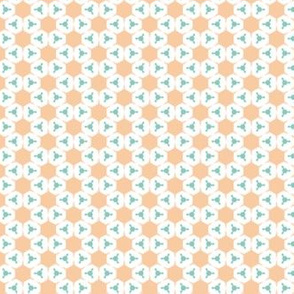Orange Hexes with blue dots