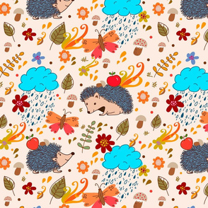 Autumn seamless texture with hedgehogs