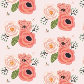 Summer Floral Blooms Pale Pink - pink floral - flowers