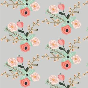 Summer Floral Grey - Grey floral - flowers