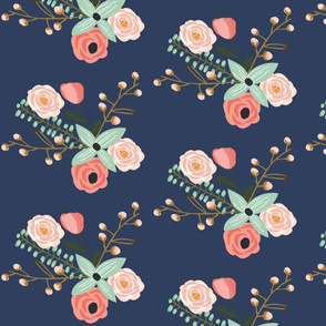 Summer Floral Navy - Navy Floral - flowers