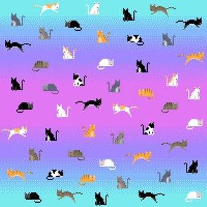 Pixel Cats - Purple Cyan