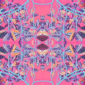 Plumeria leaves pink kaleidoscope