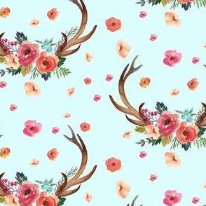 Floral Deer Garden - Blue