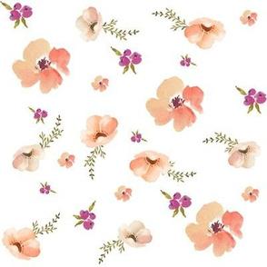 Floral Peach Dreams - White
