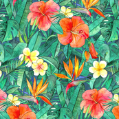 Classic Tropical Garden in watercolors