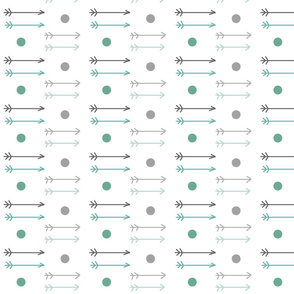 little arrows ombre dots - gray teal