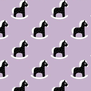 Sweet baby rocking horse kids print scandinavian style black and white lilac violet