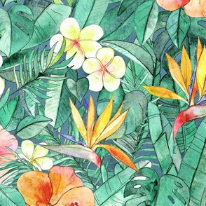Classic Tropical Garden in watercolors - faded vintage large print